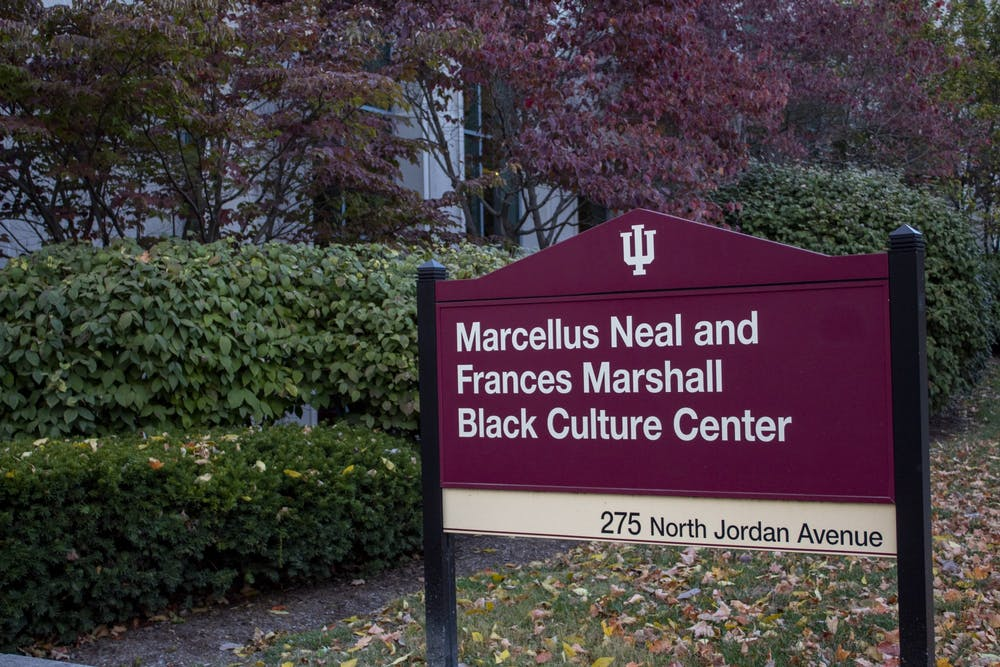 <p>The sign for the Neal-Marshall Black Culture Center is seen in October 2019.</p>