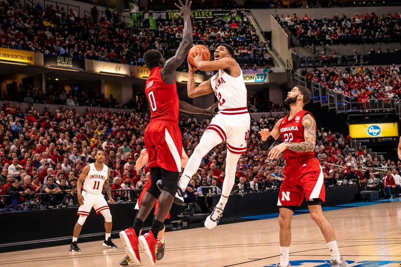 Freshman guard Armaan Franklin scores against Nebraska in the first round of the Big Ten Tournament on March 11 in Bankers Life Fieldhouse in Indianapolis. IU will advance to the March 12 game against Penn State.