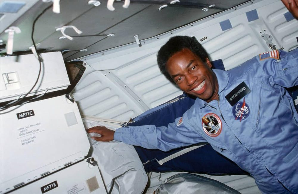 <p>Guion Bluford became the first African American to fly in spacewhen he launched aboard Challenger&#x27;s STS-8 mission on Aug. 30, 1983.</p>