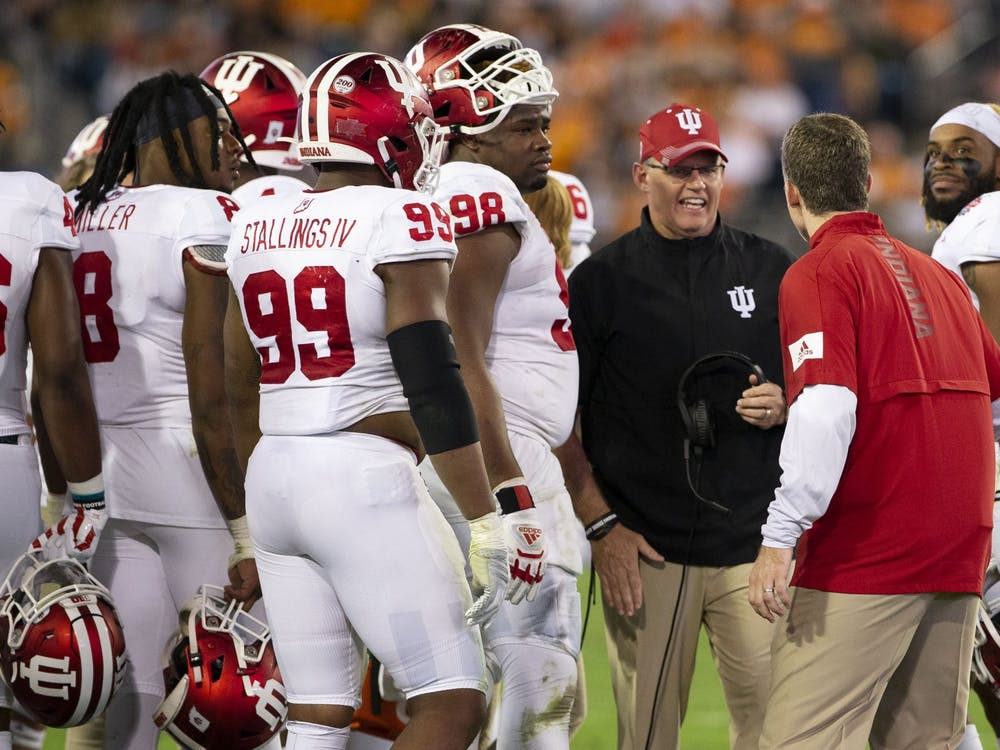 IU head football coach Tom Allen chats with his team during a timeout in the second quarter of the Tax Slayer Gator Bowl on Jan. 2 in Jacksonville, Florida. Allen discussed the IU football team's mindset Thursday as preparations are made to play the season during the coronavirus pandemic.
