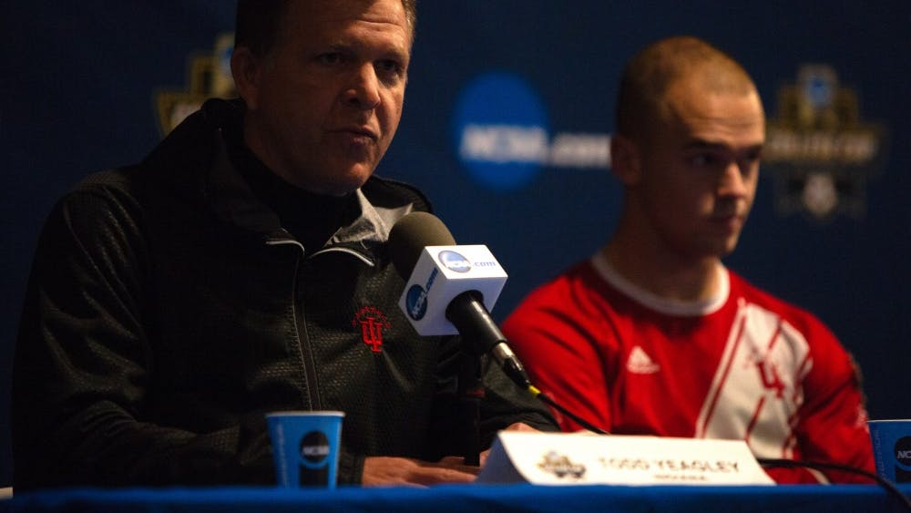 Coach Todd Yeagley answers questions alongside senior defender Andrew Gutman after IU was eliminated from the NCAA College Cup in the semifinal against Maryland on Dec. 7 at Harder Stadium in Santa Barbara, California. Maryland defeated IU, 2-0.