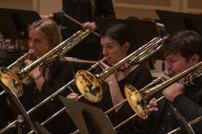 Members of the brass choir from the Jacobs School of Music perform Oct. 13 in Auer Hall. The brass choir was under the direction of Demondrae Thurman.