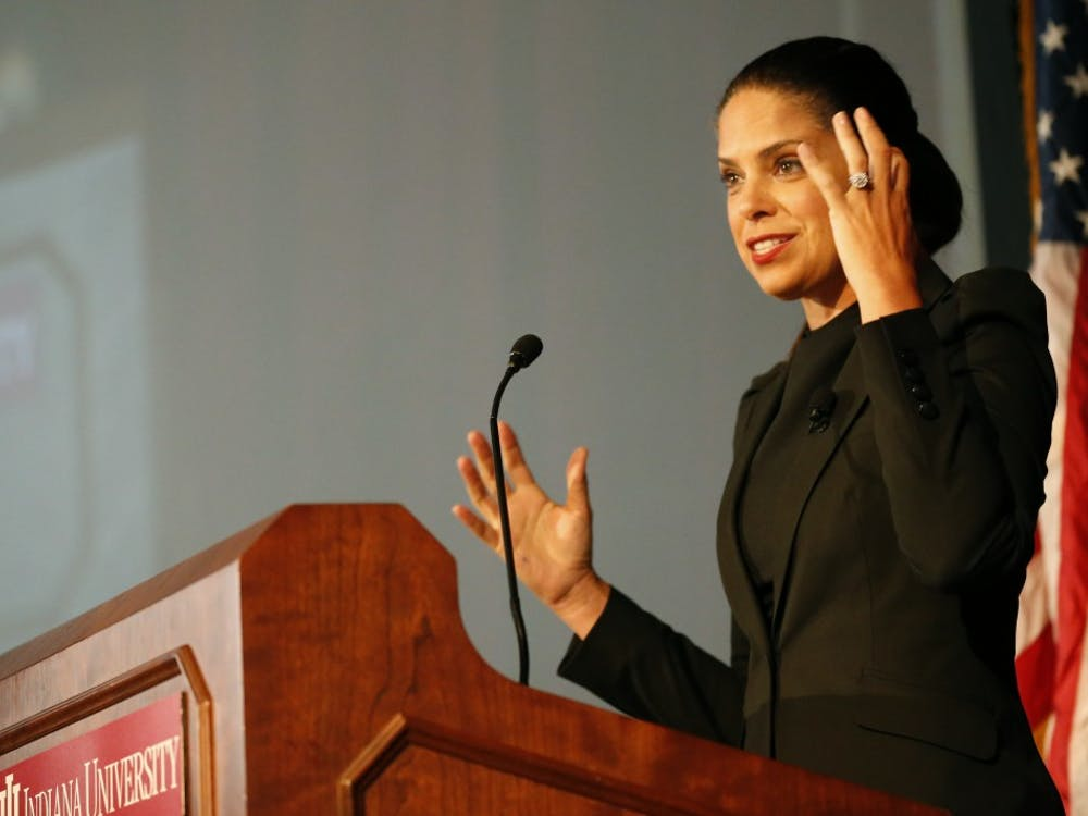 Soledad O'Brien speaks on how the American society has been challenged from racism during the Martin Luther King Jr. Celebration Leadership Breakfast on Jan. 18, 2016, at Alumni Hall. O'Brien is a journalist and a founder of Starfish Media Group, a multi-platform media production and distribution company focusing about race, class, wealth and poverty.