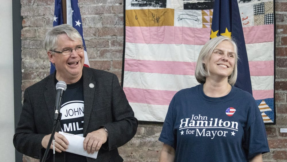 IU law professor Dawn Johnsen and her husband Mayor John Hamilton smile May 7, 2019, at an event at the Dimension Mill. Johnsen was sworn in Jan. 20 as a senior counselor for the U.S. Department of Justice.