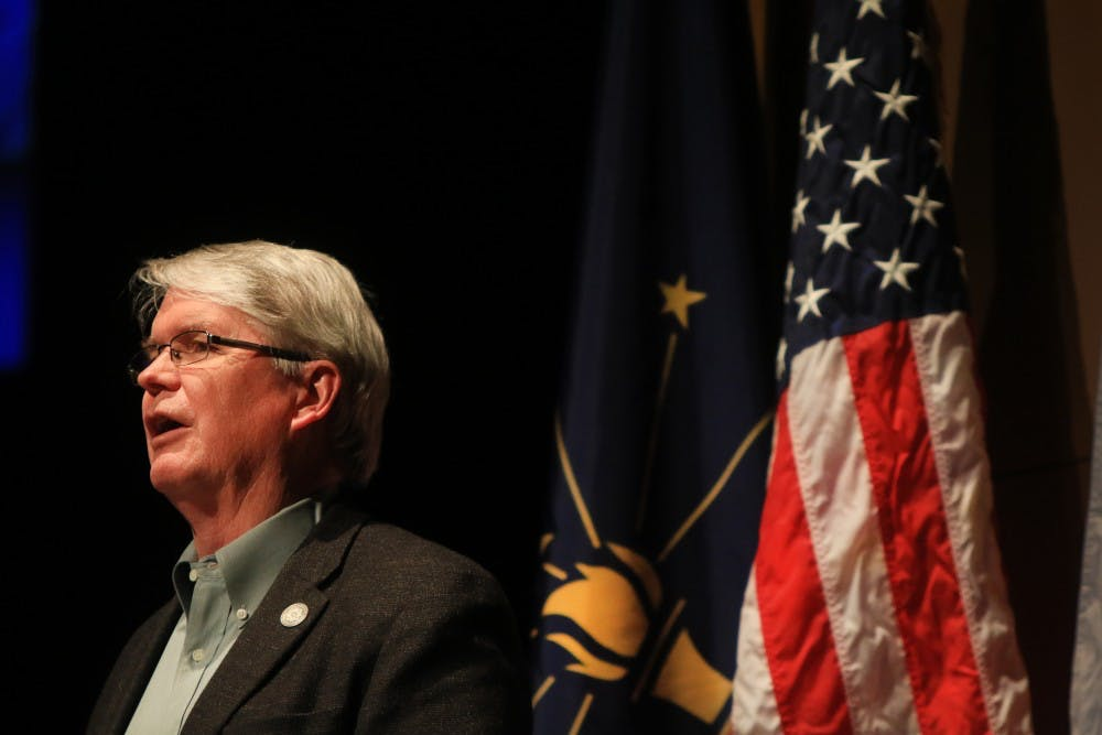 <p>Bloomington Mayor John Hamilton speaks during the State of the City Address on Feb. 21 at the Buskirk-Chumley Theater. </p>