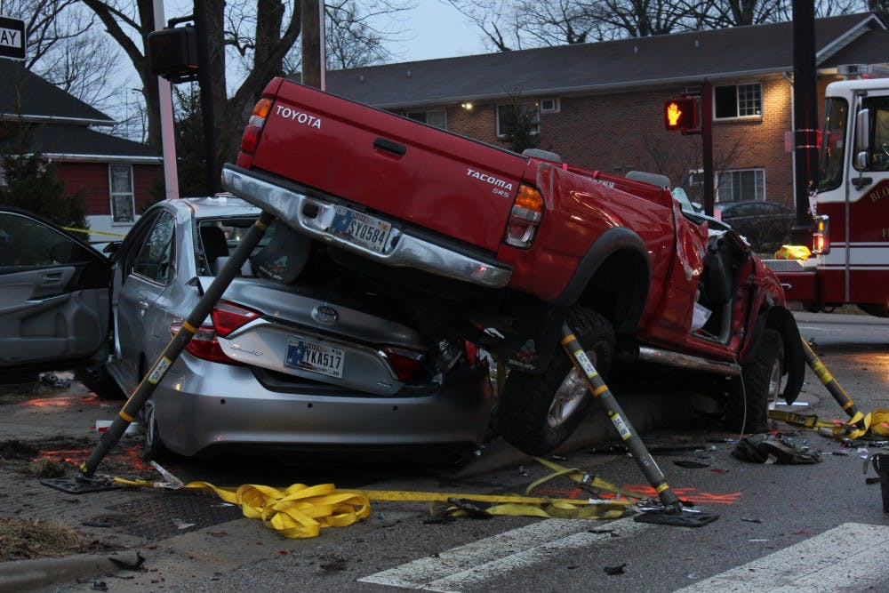<p>Five cars were involved in an accident on Atwater Avenue and Henderson Street on Wednesday evening. The top of the red truck was cut off by first responders in order to get the driver out of the car.</p>