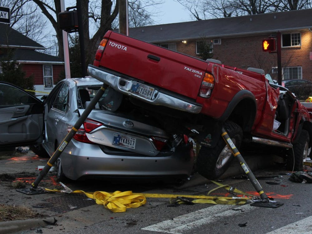 Five cars were involved in an accident on Atwater Avenue and Henderson Street on Wednesday evening. The top of the red truck was cut off by first responders in order to get the driver out of the car.
