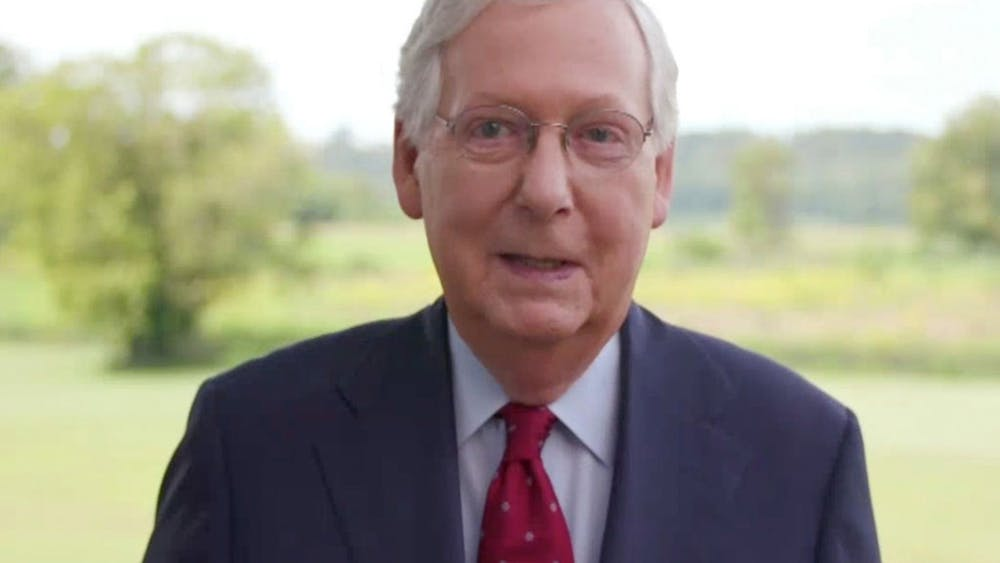 U.S. Senate Majority Leader Mitch McConnell (R-KY) addresses the 2020 Republican National Convention virtually Aug. 27. Senate Republicans said Tuesday they will introduce and set up a floor vote on a slimmed-down virus stimulus bill in an effort to break a month-long impasse on aid for the U.S. economy.