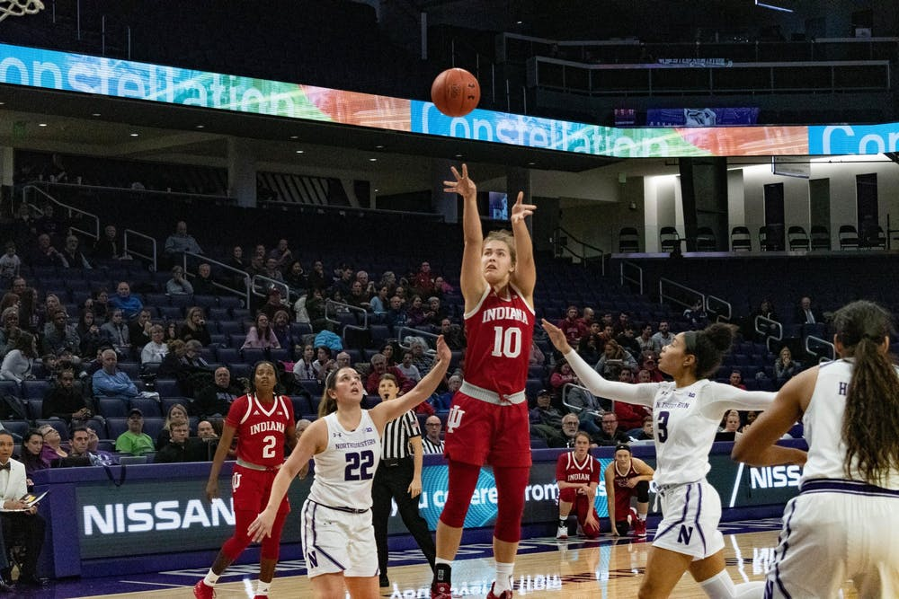 <p>Then-freshman forward Aleska Gulbe makes a jump shot Feb. 26, 2019, at Welsh-Ryan Arena in Evanston, Illinois. Gulbe scored 10 points in the Hoosiers&#x27; win over Purdue Thursday night. </p>