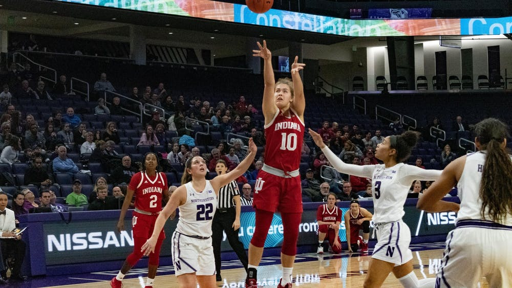 Then-freshman forward Aleska Gulbe makes a jump shot Feb. 26, 2019, at Welsh-Ryan Arena in Evanston, Illinois. Gulbe scored 10 points in the Hoosiers' win over Purdue Thursday night.