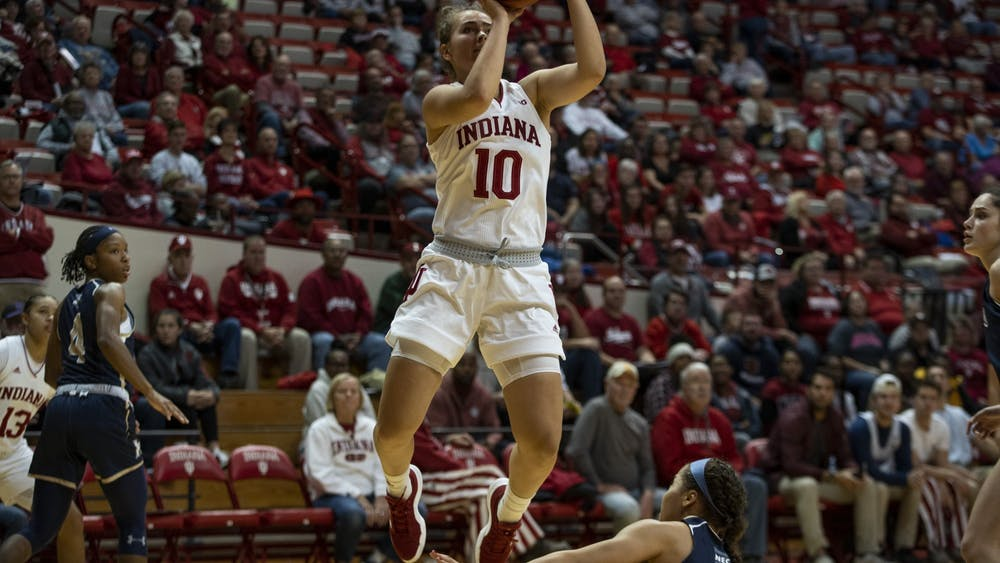 Sophomore Aleksa Gulbe attempts a shot Nov. 7 in Simon Skjodt Assembly Hall. The No. 14 IU women's basketball team will play the University of North Florida at 7 p.m. Saturday in Assembly Hall.
