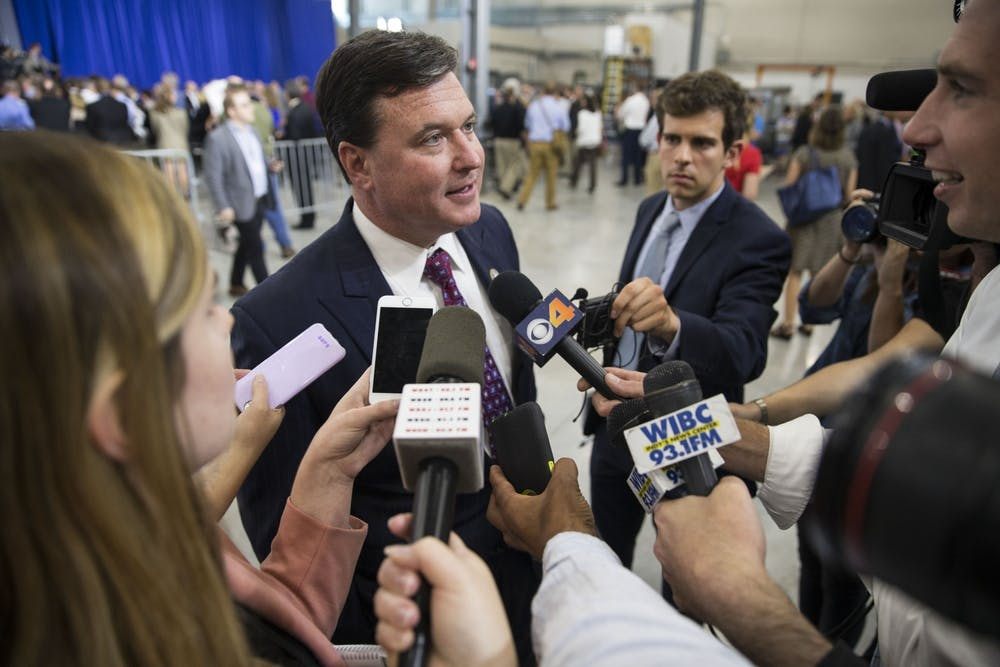 <p>Then-Indiana attorney general candidate Todd Rokita speaks with the press after hearing Vice President Mike Pence speak at the Wylam Center of Flagship East April 19, 2018, in Anderson, Indiana. Rokita joined 23 other state attorney generals to release a letter calling on President Joe Biden to reverse his recent vaccine mandate.</p>