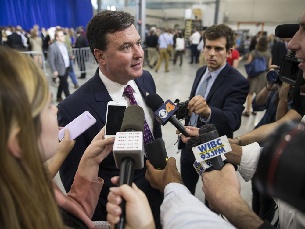 Then-Indiana attorney general candidate Todd Rokita speaks with the press after hearing Vice President Mike Pence speak at the Wylam Center of Flagship East April 19, 2018, in Anderson, Indiana. Rokita joined 23 other state attorney generals to release a letter calling on President Joe Biden to reverse his recent vaccine mandate.