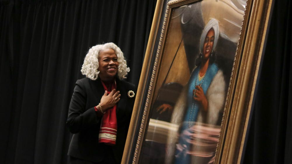 Marietta Simpson rudy professor of voice for the Jacobs School of Music  reacts to the unveiling of the new portrait of world-renowned opera singer Camilla Williams Feb. 5 in the Indiana Memorial Union East Lounge. Williams became the first African American faculty member in the voice department at IU in 1977, and she retired in 1997.