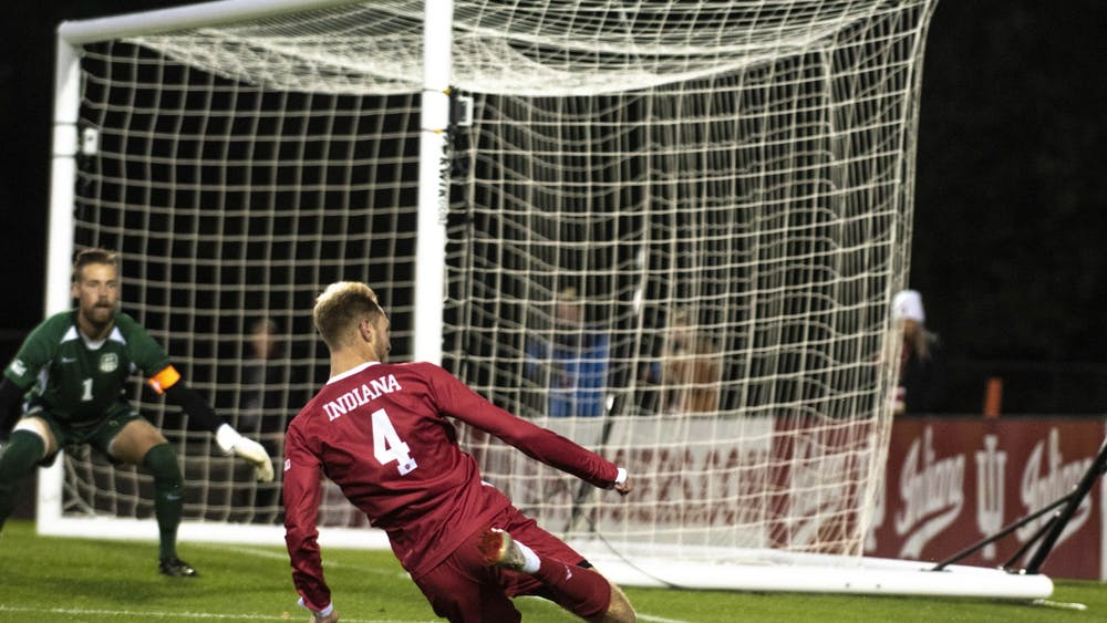 Then-redshirt junior A.J. Palazzolo tries to save a ball from going out of bounds against the University of Evansville on Oct. 22, 2019, at Bill Armstrong Stadium. IU beat Wisconsin 3-0 Friday at Grand Park in Westfield, Indiana.