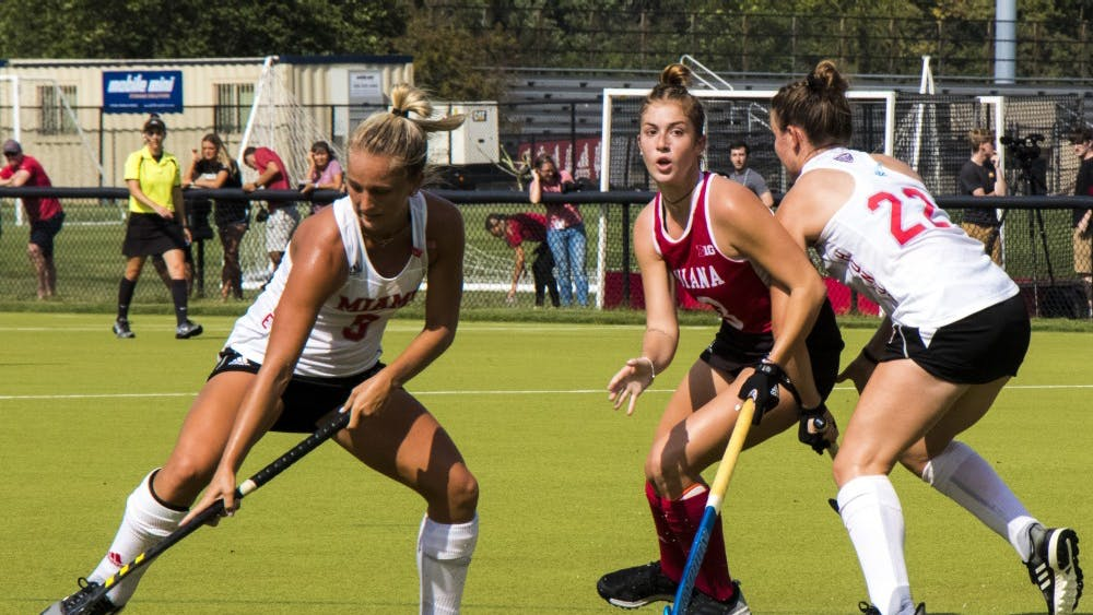 IU junior Rylee Pearson chases the ball against Miami University on Sept. 6 at the IU Field Hockey Complex. The IU field hockey team will play its final home match of the season against No. 6 Iowa on Friday and will travel to Athens, Ohio, to take on Ohio University on Sunday.