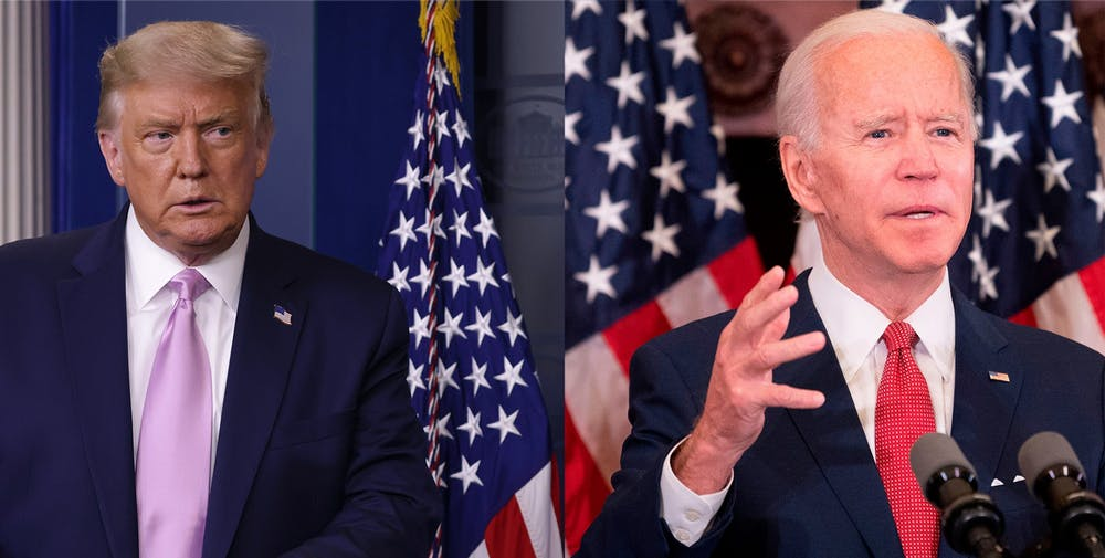 <p>President Donald Trump speaks during a news conference in the briefing room of the White House, and Democratic presidential candidate and former Vice President Joe Biden speaks in an event at Philadelphia City Hall.</p>