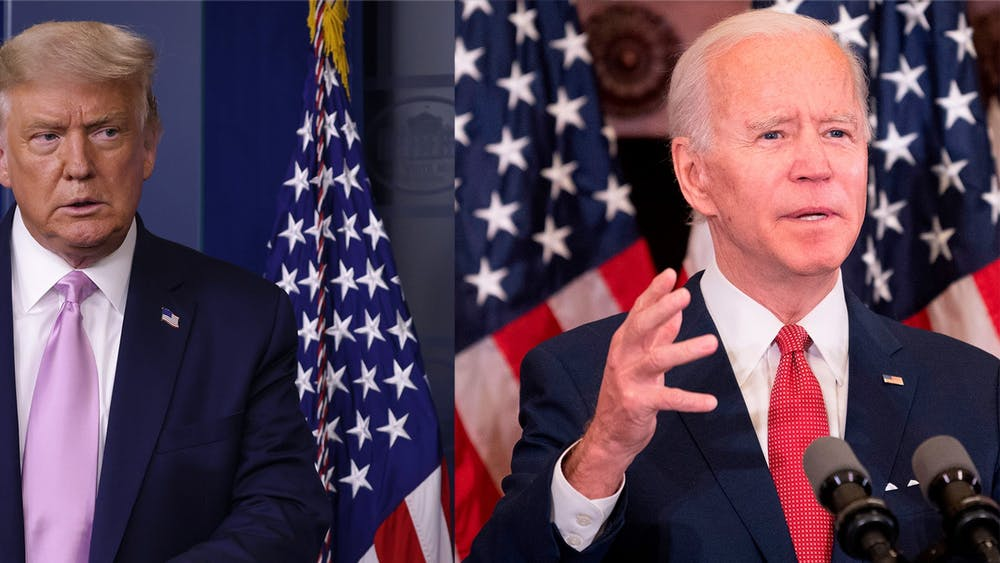 President Donald Trump speaks during a news conference in the briefing room of the White House, and Democratic presidential candidate and former Vice President Joe Biden speaks in an event at Philadelphia City Hall.