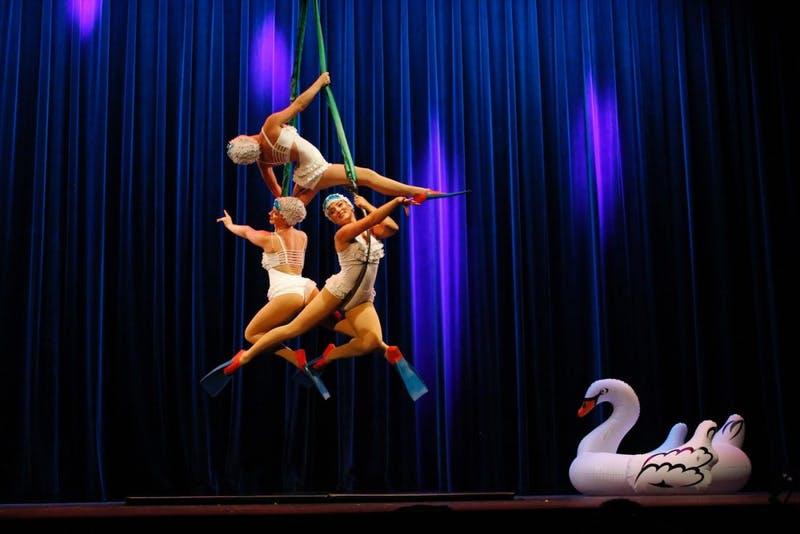 """AsaBela WINGS Aerial Acedemy's Isla Burrell Weber, Erica Bexell and Mia Langley perform as """"The Turkish Mermaids"""" in the children's matinee performance of """"Va-Va-Va-Vaudeville."""" The performance was Saturday afternoon at the Buskirk-Chumley Theater."""