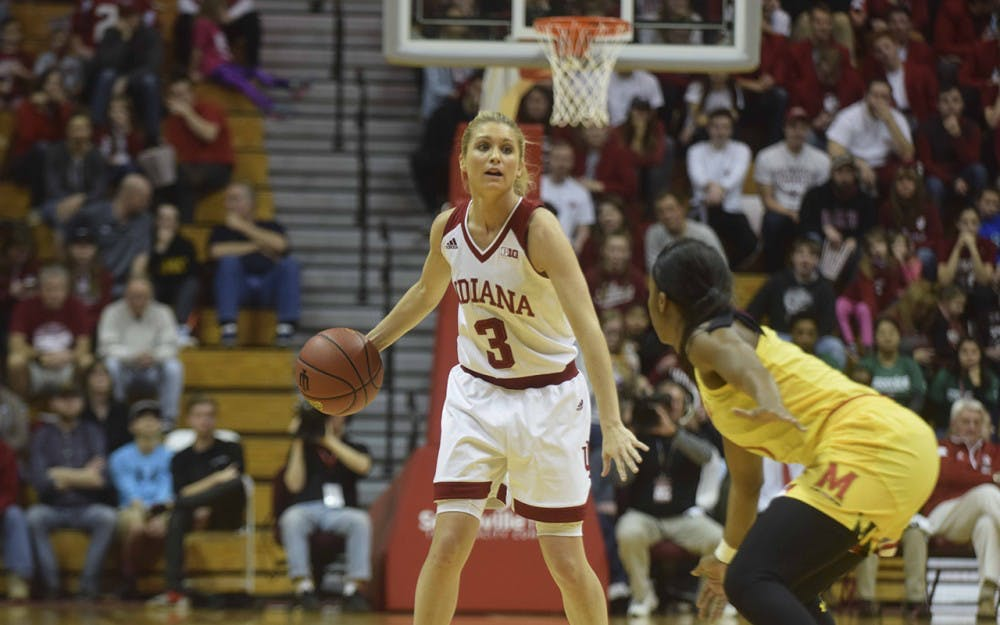 Junior guard Tyra Buss surveys the court against Maryland on Sunday in Simon Skjodt Assembly Hall. IU lost to the Terrapins 92-56 to fall to 5-5 in conference play.