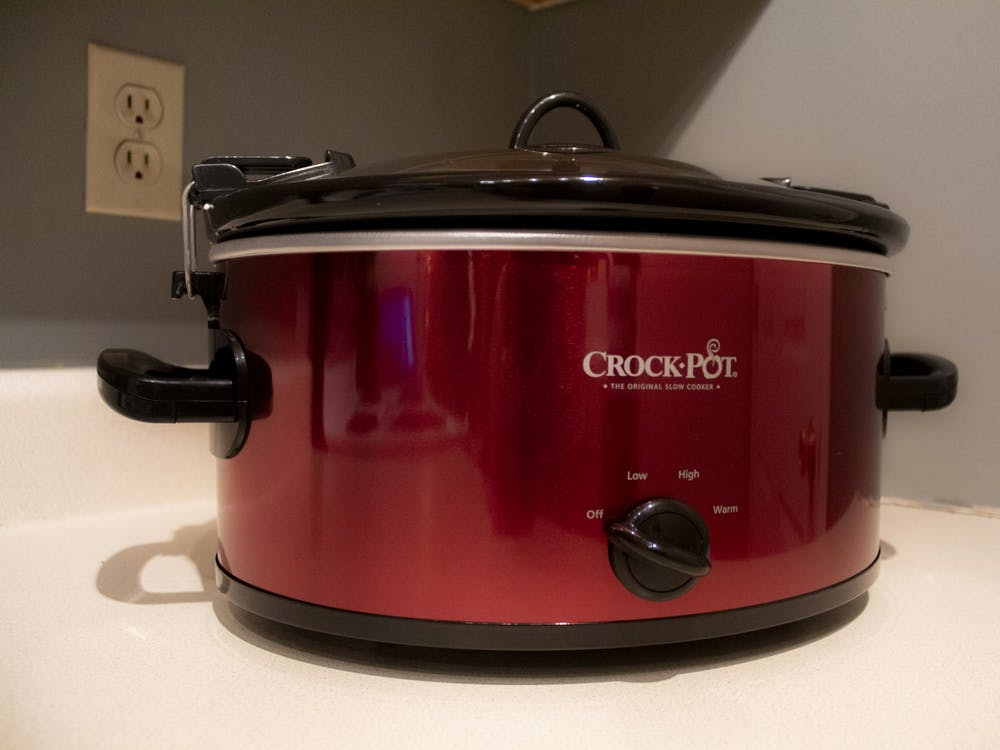 Crock-pot: A busy college student's best friend. Toss in some chicken and taco seasoning before class, and come back to chicken tacos ready to eat.