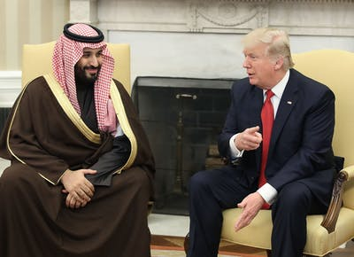 President Donald Trump meets with Saudi Crown Prince Mohammed bin Salman in the Oval Office on March 14, 2017, at the White House in Washington, D.C.