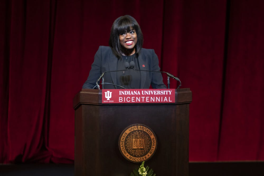 <p>Actress Viola Davis speaks Jan. 20 in Simon Skjodt Assembly Hall for &quot;An Afternoon With Viola Davis: A Day of Commemoration.&quot; Davis was awarded an honorary doctoral degree in fine arts from Indiana University. </p>