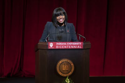 "Actress Viola Davis speaks Jan. 20 in Simon Skjodt Assembly Hall for ""An Afternoon With Viola Davis: A Day of Commemoration."" Davis was awarded an honorary doctoral degree in fine arts from Indiana University."