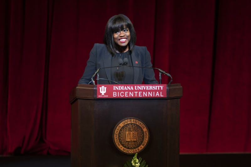 """Actress Viola Davis speaks Jan. 20 in Simon Skjodt Assembly Hall for """"An Afternoon With Viola Davis: A Day of Commemoration."""" Davis was awarded an honorary doctoral degree in fine arts from Indiana University."""