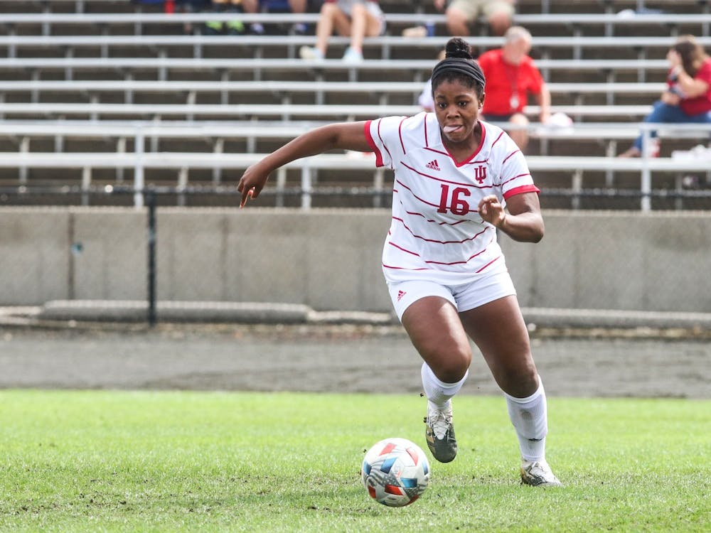 Junior midfielder Bria Telemaque goes to kick the ball Oct. 3, 2021, at Bill Armstrong Stadium against Michigan. Indiana and Michigan drew 0-0 after the game was called due to bad weather.