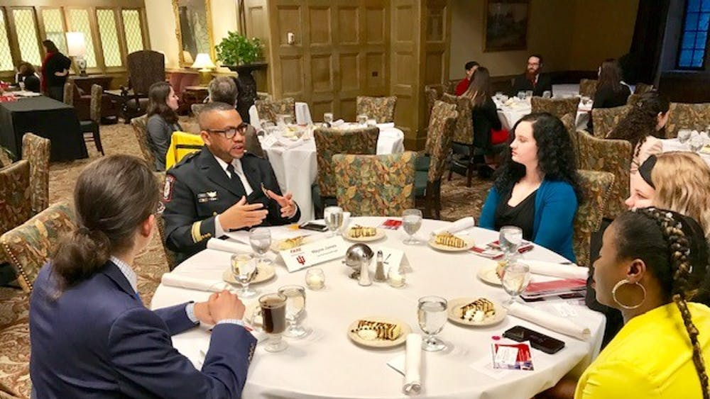 IU Northwest Police Chief Wayne James, also the Chief Diversity Officer of IU Police Department, represents law enforcement in 2018 during a Career Dinner Symposium. The event was organized by the Office of the Vice President for Diversity, Equity, and Multicultural Affairs.