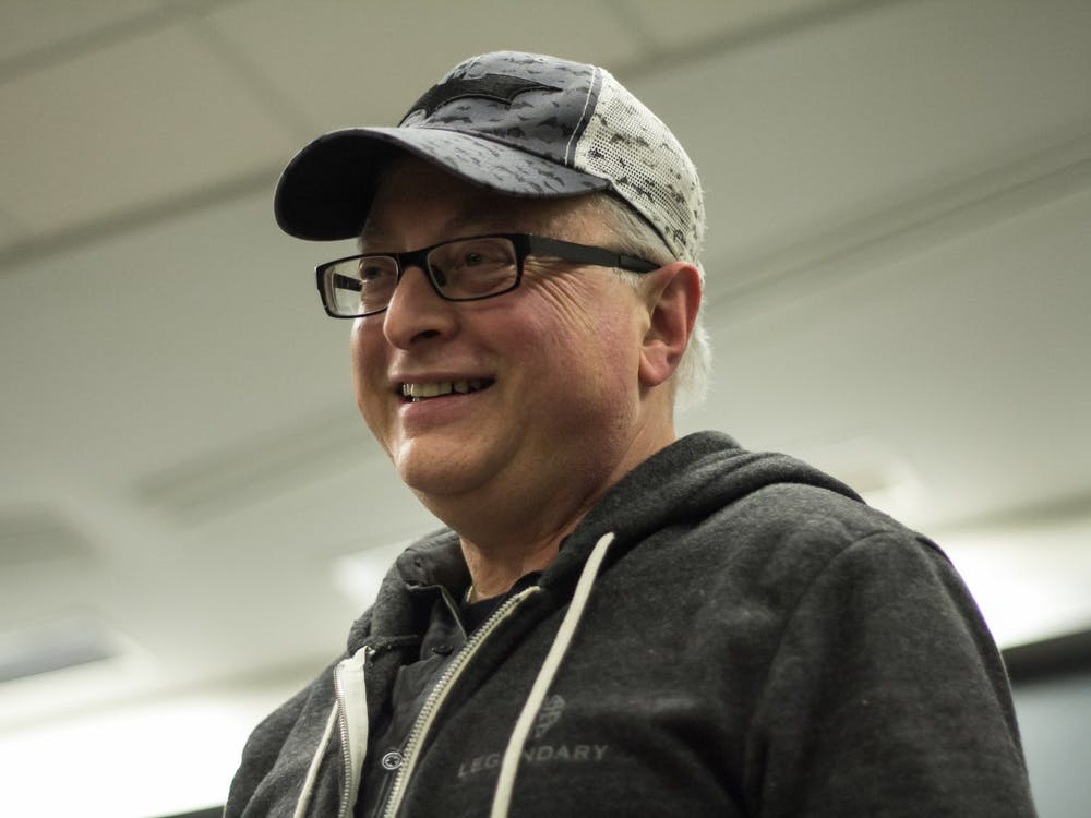 Batman producer and IU alumnus Michael Uslan speaks Feb. 4, 2015, in the Ernie Pyle Hall auditorium. Uslan is coming back to IU as a professor of practice to teach two three-week courses at the Media School.
