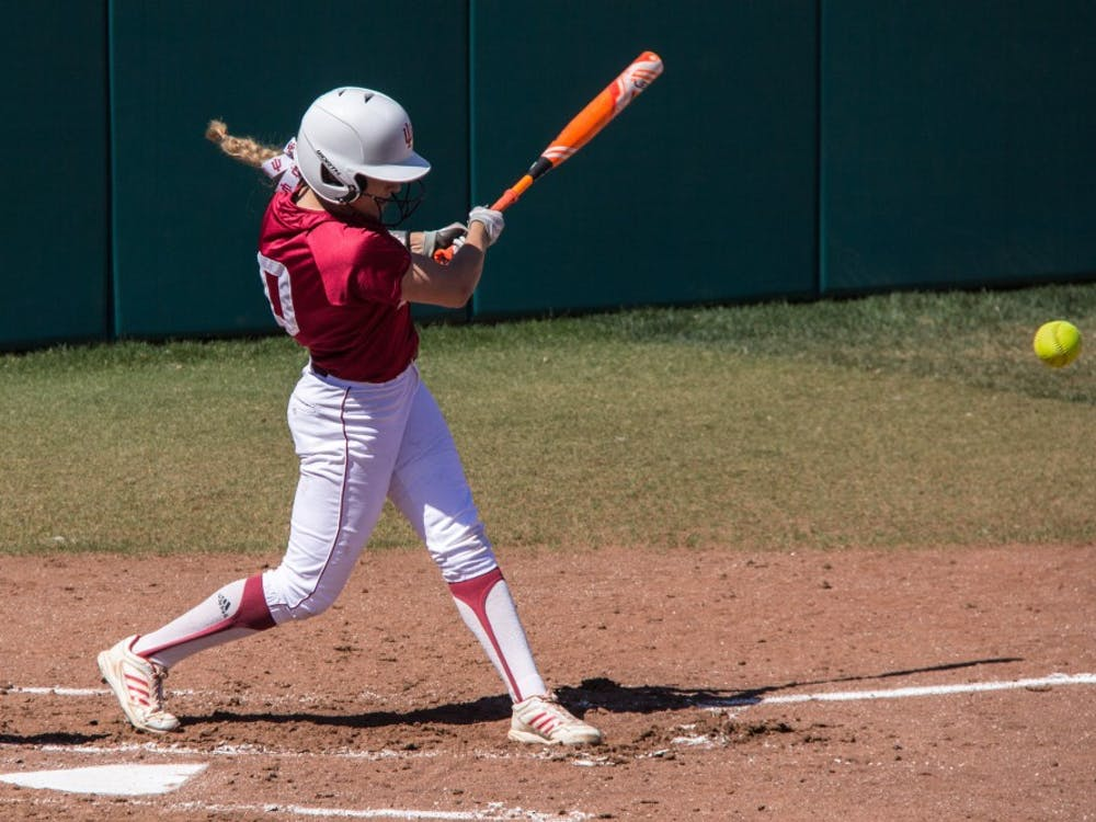 Then-freshman Sarah Galovich swings at a pitch in a 9-3 win against University of Iowa at Andy Mohr Field during the 2016 season. Galovich and the Hoosiers will continue their non-conference road trip to start the 2018 season this weekend.