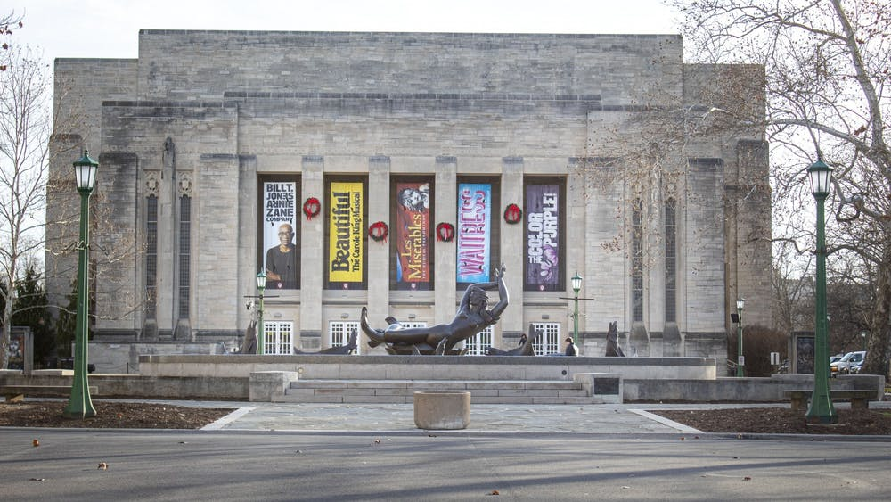 The outside of the IU Auditorium is seen Jan. 9 in the Fine Arts Plaza. The Minnesota Orchestra will visit the auditorium Jan. 22 to have lunch with members of the Hutton Honors College and The Jacobs School of Music Project Jumpstart, a student leadership team for Jacobs students.