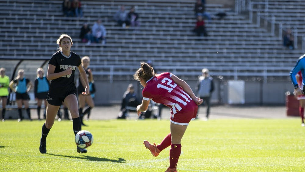 Junior Melanie Forbes scores her fourth goal of the season Oct. 27 at Bill Armstrong Stadium. IU women's soccer will play in the Big Ten Tournament for the first time since 2016.