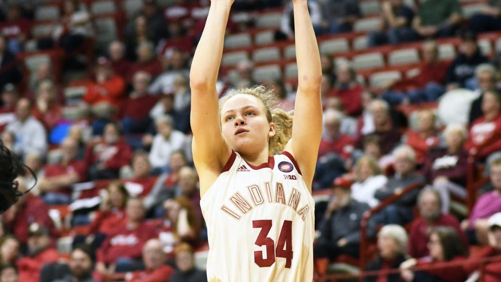 Freshman guard Grace Berger shoots the ball during the game against Minnesota on Feb. 6 in Simon Skjodt Assembly Hall.