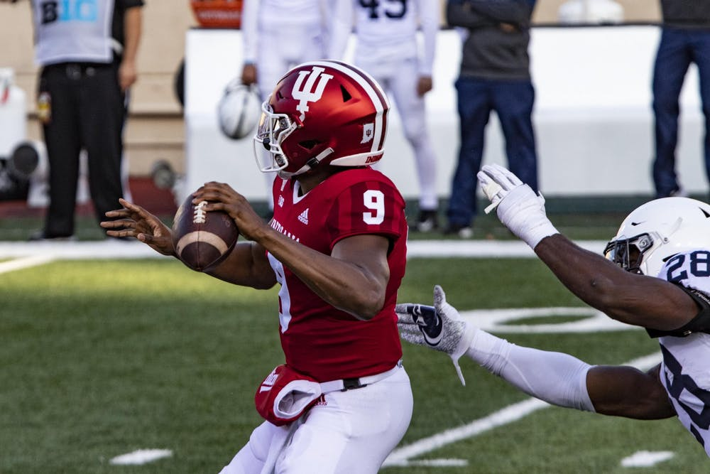 <p>Redshirt sophomore quarterback Michael Penix Jr. prepares to throw the ball Oct. 24 in Memorial Stadium. IU defeated Penn State in overtime 36-35.</p>
