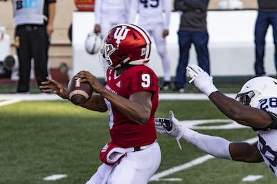 Redshirt sophomore quarterback Michael Penix Jr. prepares to throw the ball Oct. 24 in Memorial Stadium. IU defeated Penn State in overtime 36-35.
