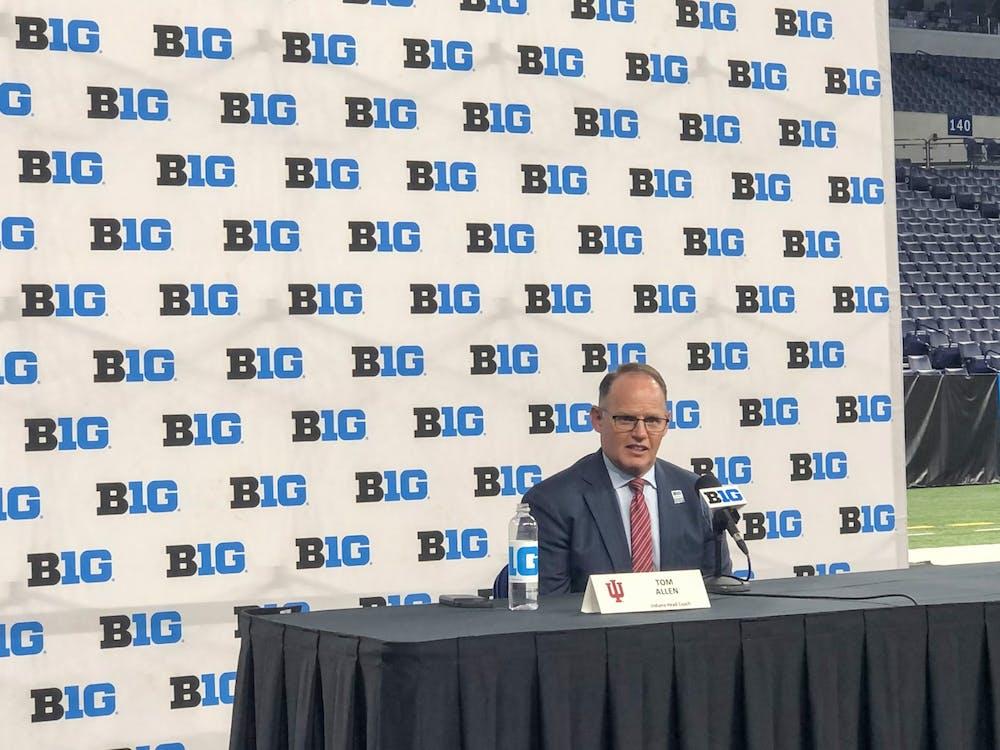 IU football head coach Tom Allen speaks Friday during Big Ten Media Days in Indianapolis.