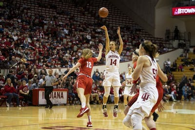 Redshirt junior Ali Patberg takes a shot Dec. 15 at Simon Skjodt Assembly Hall. Patberg had her highest scoring game of the season, scoring 18 points.