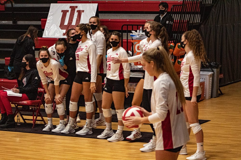 <p>Sophomore defensive specialist Sophie Oliphant prepares to serve Jan. 22 at Wilkinson Hall. IU will play No. 1 Wisconsin in a double header Friday and Saturday at Wilkinson Hall. </p>