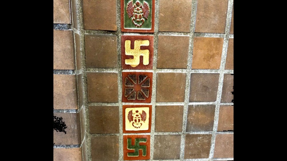 Swastika symbol is displayed on the walls of the Intramural Center. IU has started to remove tiles displaying swastikas by sanding them down.