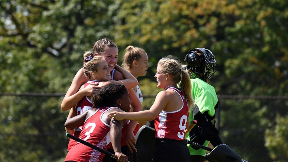 IU celebrates after senior forward Maddie Latino scores the game-winning goal against Ball State at the IU Field Hockey Complex. IU defeated Ball State Sunday.