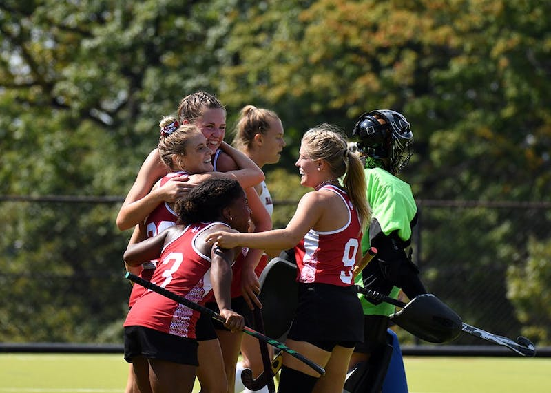 IU celebrates after senior forward Maddie Latino scores the game-winning goal against Ball State at the IU Field Hockey Complex. IU defeated Saint Louis in a scrimmage on Tuesday.