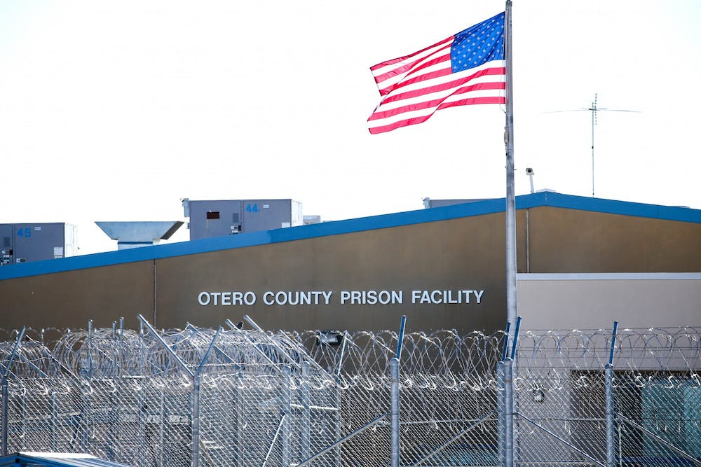 <p>The Otero County Prison Facility in Chaparral, New Mexico, is one of seven for-profit prison and detention facilities in the state. The prison, and an adjacent processing center for Immigration and Customs Enforcement detainees, are operated by the Management and Training Corporation.</p>