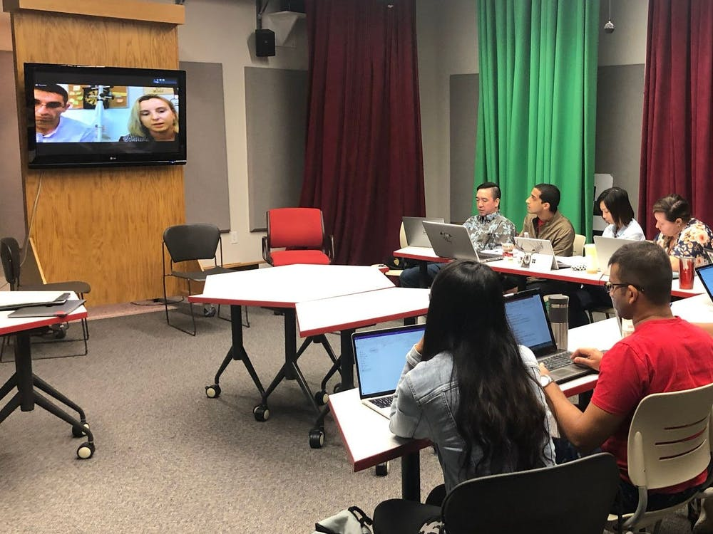 Students in professor Adam Maltese's class meet over Skype with administrators of a makerspace, a community operated workspace, in Kosovo. The Diplomacy Lab project in Kosovo involves makerspaces within public libraries.