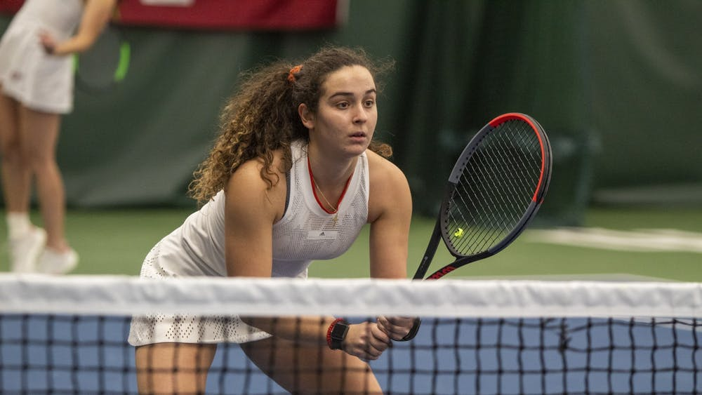 Junior Jelly Bozovic competes with her doubles  partner senior Annabelle Adrinopoulos on Feb. 2 in the IU Tennis Center. IU will compete against the United States Naval Academy on the road Feb. 7.