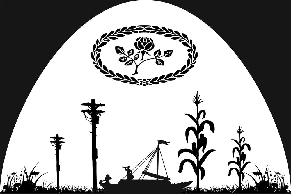 <p>A silhouette promotional illustration that represents New Harmony, Indiana, is pictured. IU Theater&#x27;s production &quot;More Perfect Places&quot; took inspiration from New Harmony and its utopian history.</p>