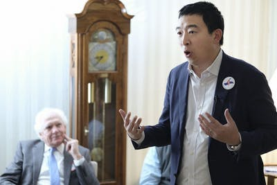 Andrew Yang, entrepreneur and Democratic presidential candidate for 2020, meets local Woodbury County, Iowa, Democrats and members of the Truman Club in February 2019 in Sioux City, Iowa.