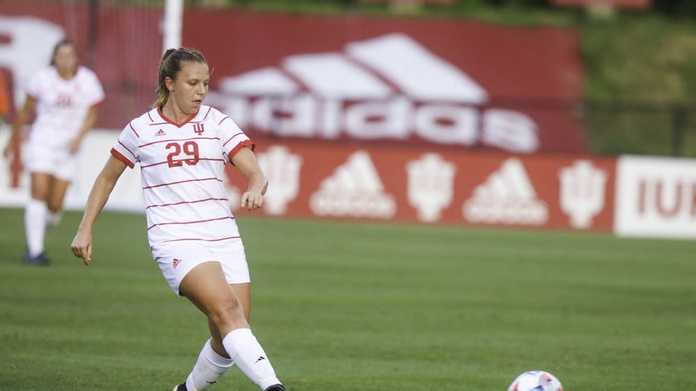 Junior midfielder Alaina Kalin passes the ball Sept. 2, 2021, in Bill Armstrong Stadium. In the schools' last matchup, Indiana lost to Murray State 2-1 in 2019.